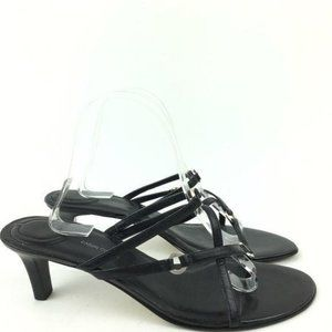 Casual Corner Heels Size 10 Leather Strappy Slides